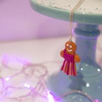 Retro Gingerbread Lady Ballerina necklace Quirky, fun, unique, handmade novel