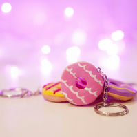 Retro classic Party ring biscuit keyring ONE SUPPLIED handmade, unique, quirky