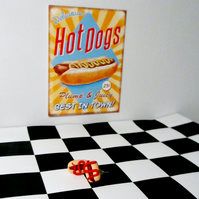 Retro Hotdog with ketchup or mustard stud earrings Quirky, unique,handmade novel