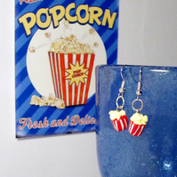 Retro diner popcorn box earrings STUD, DROP or CLIP ON, unique, handmade novel