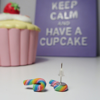 Retro Multicoloured candy cane stud earrings Quirky, fun, unique, handmade novel