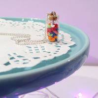 Retro Miniature Multicoloured Jelly Beans in a Jar Necklace Quirky, fun, unique