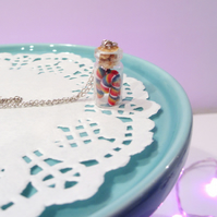 Retro Miniature Multicoloured Candy Canes in a jar necklace Quirky, fun, unique