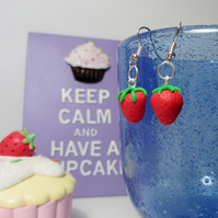 Retro Strawberry earrings STUD, DROP or CLIP ON, unique, handmade, novel