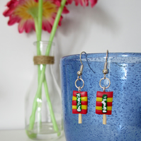 Retro Drumstick Lolly drop earrings Quirky, fun, unique, handmade novel