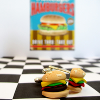 Retro Cheeseburger cufflinks quirky, fun, unique, handmade, novel