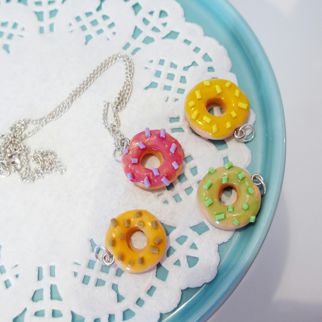 Unicorn colours doughnut necklace Quirky, unique, handmade, retro