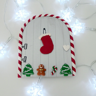Christmas Retro Fairy or Elf Door STOCKING TREES SILVER