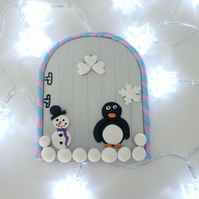 Christmas Retro Fairy or Elf Door PENGUIN SNOWMAN SILVER