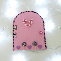 Retro Fairy or Elf Door PINK & BLACK THEME