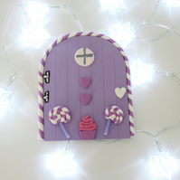 Retro Fairy or Elf Door LILAC & WHITE THEME