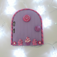 SALE Retro Fairy or Elf Door LILAC & PINK THEME