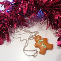 Retro Sparkly glitter gingerbread man or lady necklace ONE SUPPLIED