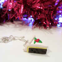 Retro Christmas cake slice necklace OR keyring, fun, unique, handmade novel