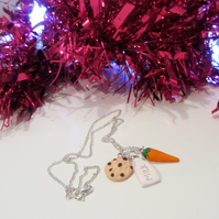 Retro Christmas Milk, cookie and carrot necklace Quirky, fun, unique, handmade