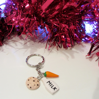 Retro Christmas Milk, cookie and carrot Keyring Quirky, fun, unique, handmade