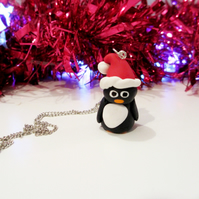 Christmas Retro Penguin necklace OR keyring, Quirky, fun, unique, handmade novel