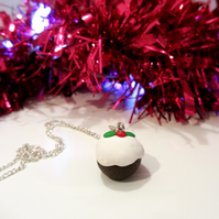 Retro Christmas pudding Necklace OR keyring Quirky, fun, unique, handmade novel