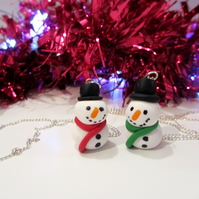 Retro Christmas Snowman Keyring OR Necklace, Quirky, fun, unique, handmade