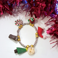 SALE Retro Christmas themed charm bracelet GOLD BEADS handmade, unique, quirky,
