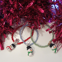 SALE Retro Christmas themed green snowman charm bracelet ONE SUPPLIED