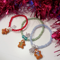SALE GREEN Retro Christmas themed mini gingerbread man bracelet ONE SUPPLIED