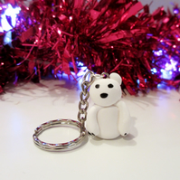 Retro Christmas Polar Bear keyring Quirky, fun, unique, handmade novel