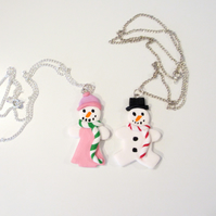Retro Christmas Snow man or lady necklace ONE SUPPLIED