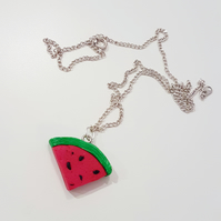 Retro watermelon slice necklace OR keyring Quirky, unique, fun