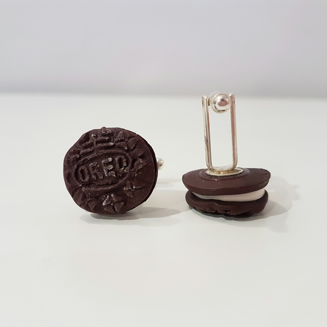 Retro Oreo biscuit cufflinks quirky, fun, unique, handmade, novel