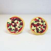 Retro Pizza cufflinks quirky, fun, unique, handmade, novel