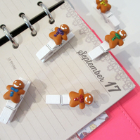 Gingerbread Men Rainbow pegs collection set of 6 - stationery, planner, diary