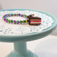 Retro Chocolate cake slice rainbow coloured bracelet quirky, unique, handmade