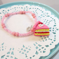 Retro Strawberry cake slice pink coloured bracelet quirky, unique, handmade