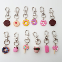 Retro foods planner charms, stitch markers, mini keyrings, bag charms, handmade