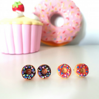 Retro doughnut with sprinkles stud earrings ONE PAIR SUPPLIED CHOOSE COLOUR
