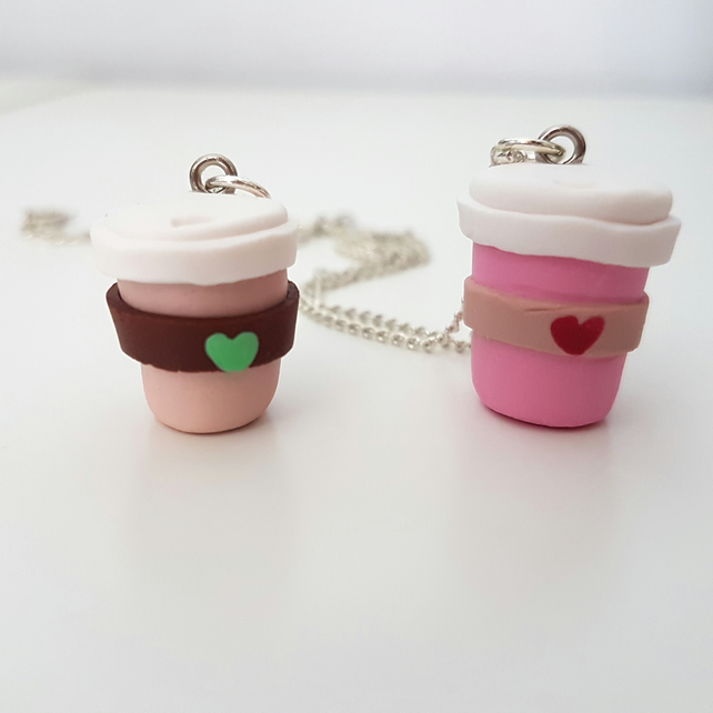 Retro coffee cup necklace OR keyring CHOOSE brown or pink, Quirky, unique, fun