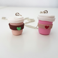Retro coffee cup necklace CHOOSE brown or pink, Quirky, unique, fun