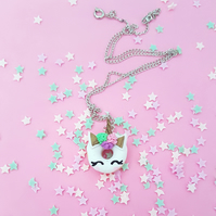 Mystical Unicorn Doughnut necklace magical, fantasy, baking, gift