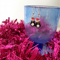 Retro Christmas Penguin drop earrings Quirky, fun, unique, handmade novel