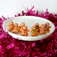 Christmas Gingerbread men stud earrings, quirky, fun, unique, handmade, novel)
