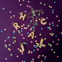 Sugar cookie alphabet letter necklace, personalised, sprinkles, unique, fun ONE