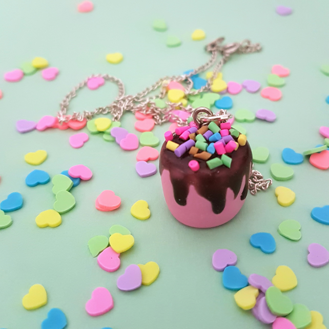Mini Chocolate drip cake with sprinkles necklace