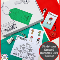 Christmas themed surprise gift box (one supplied) stationery, jewellery