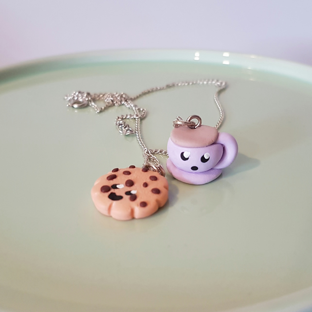 KAWAII Cup of Tea and Cookie necklace - handmade, unique, gift, cute