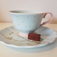 Retro Mini Bourbon Biscuit necklace OR keyring - handmade, unique, gift, cute