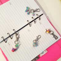 Retro Unicorn themed planner charms, stitch markers, bag charms CHOOSE