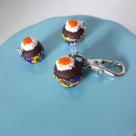 Chocolate Egg Cupcake planner charm, stitch marker, mini keyring, bag charm