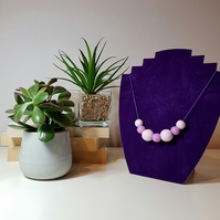 """Sugar Free"" Geometric modern round beaded necklace - Lilac"