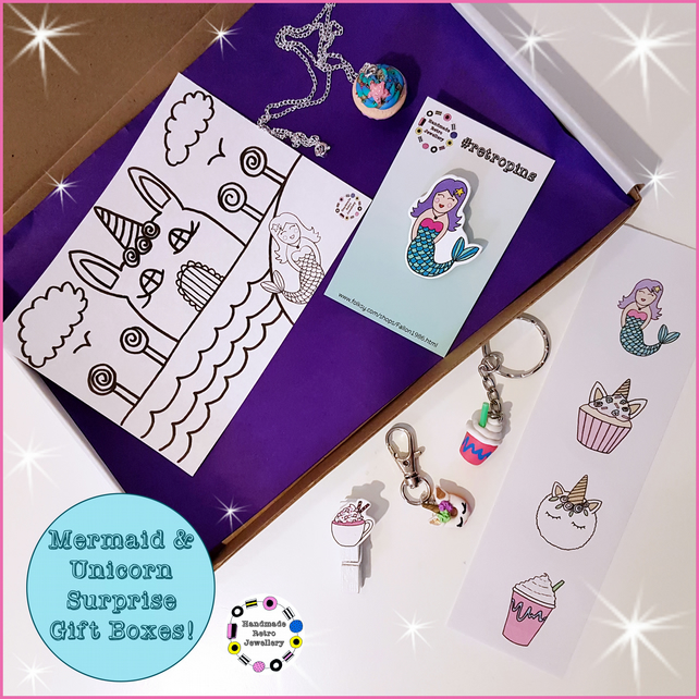 Unicorn & Mermaid themed surprise gift box (one supplied) stationery, jewellery
